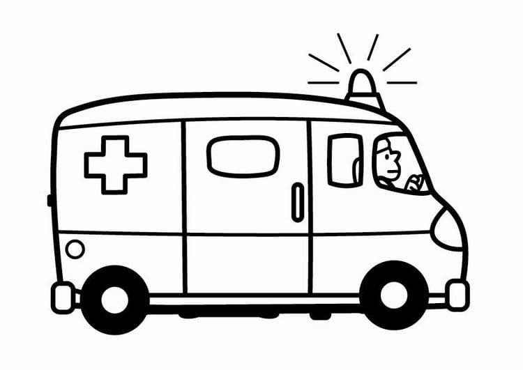 Dibujo para colorear ambulancia img 24102 for Dibujo de una piedra para colorear