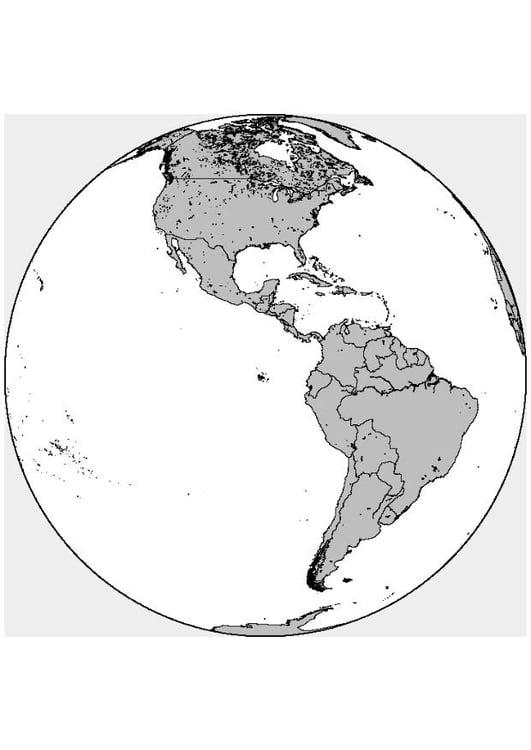Dibujo Para Colorear América Del Norte Y Del Sur
