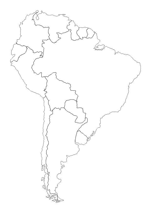 Dibujo para colorear América del sur - Img 10700