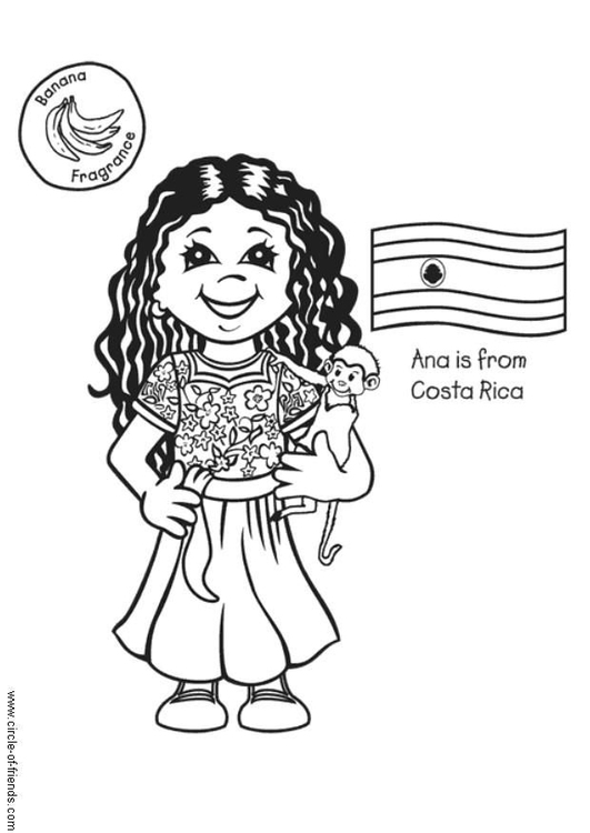 Dibujo para colorear Ana con bandera de Costa Rica  Img 5614
