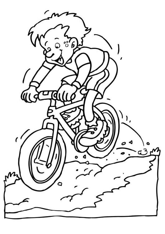 dibujo para colorear andar en mountainbike