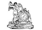 Dibujo para colorear ángel con reloj