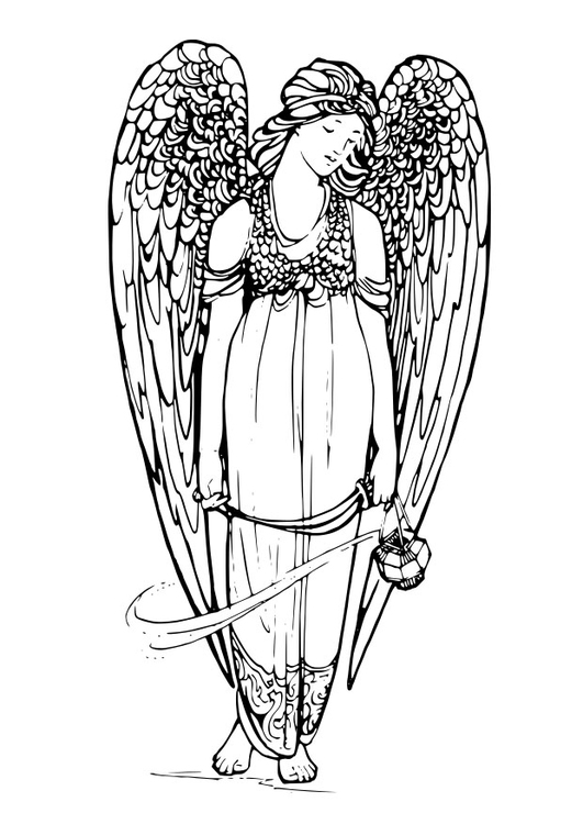 Dibujo para colorear ángel - Img 29144
