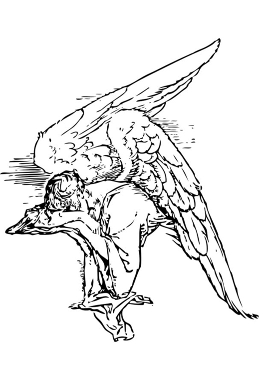 Dibujo para colorear ángel triste - Img 17367