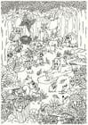 Dibujo para colorear animales en el bosque