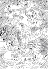 Dibujo para colorear animales en la selva