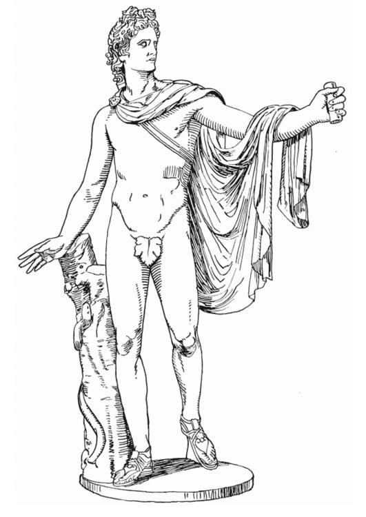 Dibujo para colorear Apolo, un dios griego - Img 13201