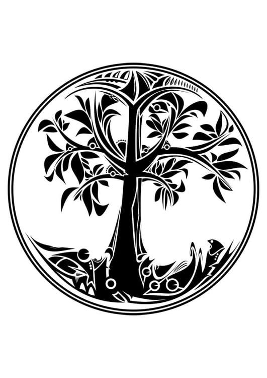 Dibujo para colorear árbol de la vida - Img 29793