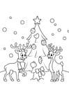 Dibujo para colorear Árbol de Navidad con renos