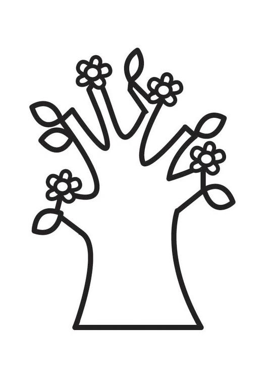 Dibujo para colorear árbol en primavera con flores - Img 18508