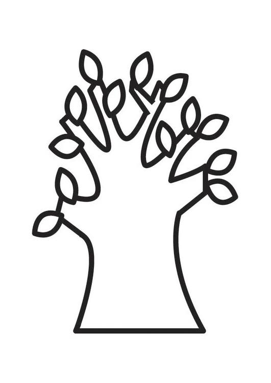 Dibujo para colorear árbol en primavera - Img 18333
