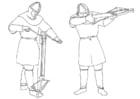 Dibujo para colorear Arquero cargando y disparando