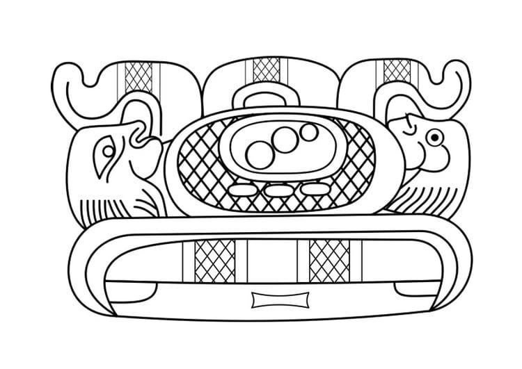 Dibujo para colorear arte maya - Img 27457