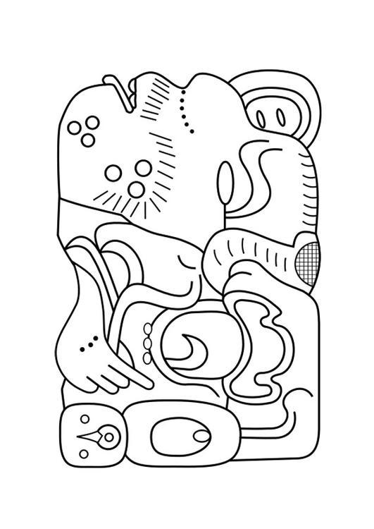 Dibujo para colorear arte Maya - Img 27458