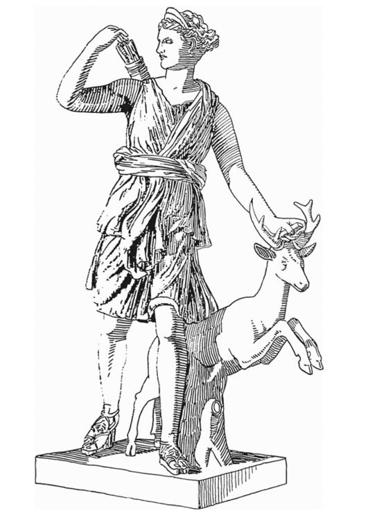 Dibujo para colorear Artemis, diosa de la mitología griega - Img 18613