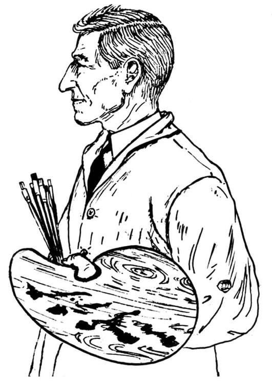 Dibujo para colorear artista - Img 18674