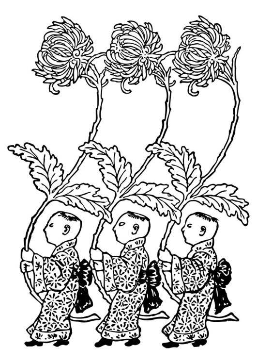 Dibujo para colorear Asia - portadores de crisantemo amarillo - Img ...