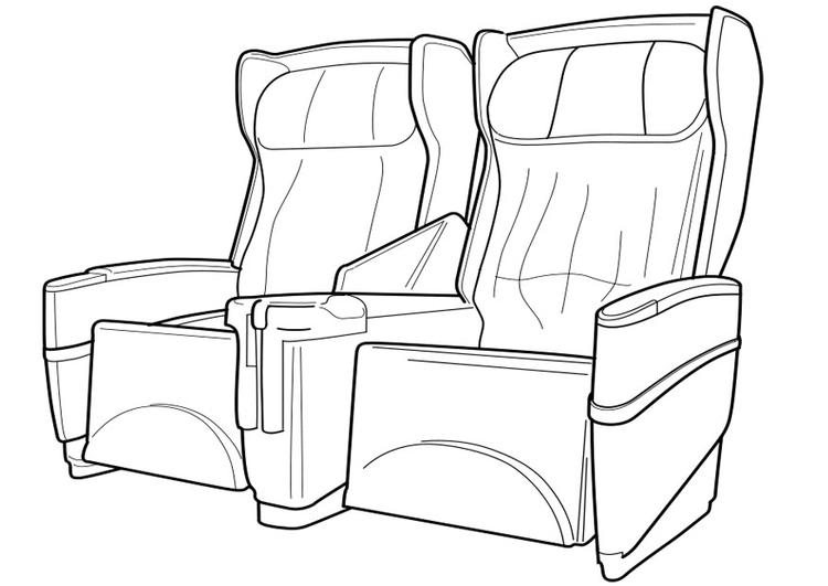 Dibujo para colorear asientos de avión - Img 19109