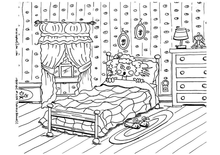 Dibujo Para Colorear Asustado En La Cama, Pesadilla