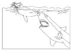 Dibujo para colorear Ataque de tiburón