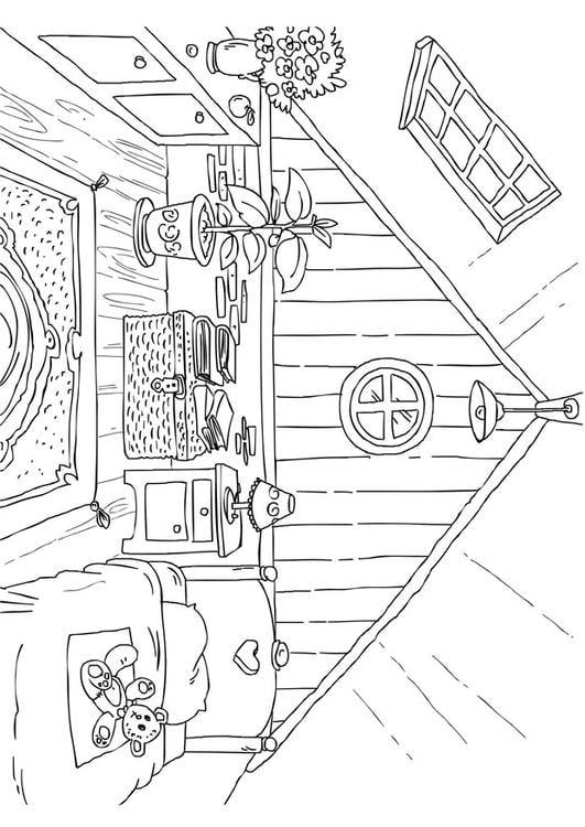 Dibujo para colorear tico img 26226 for Dormitorio para colorear