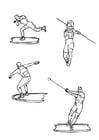 Dibujo para colorear Atletismo - disco y jabalina