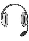 Dibujo para colorear auriculares con micrófono