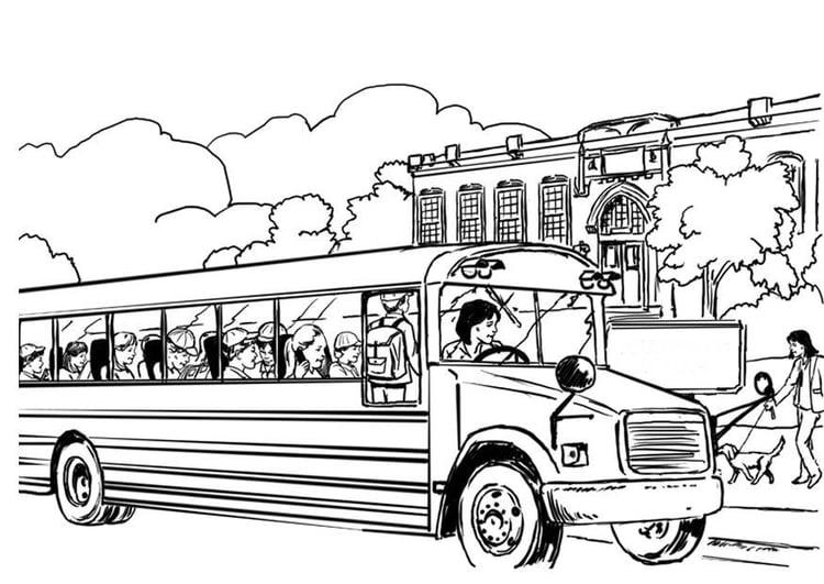 Dibujos Infantiles Escolares Para Colorear: Dibujo Para Colorear Autobus Escolar