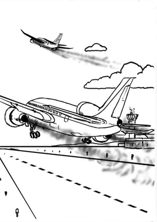 Dibujo para colorear Avión, contaminación del aire - Img 14381