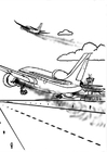 Dibujos para colorear Avión, contaminación del aire