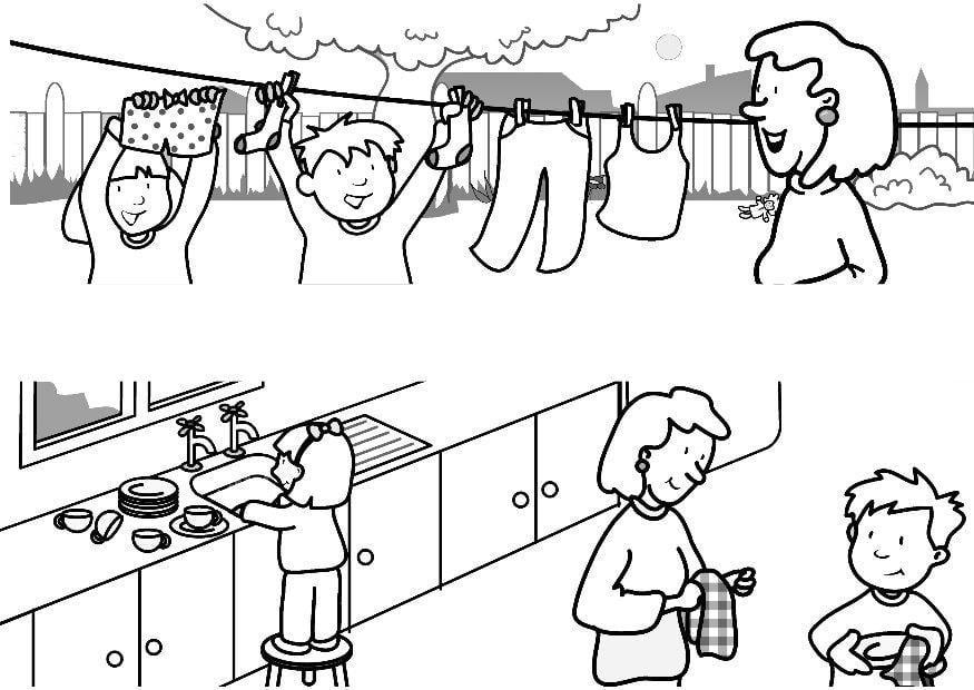 Dibujo para colorear Ayudar en casa - Img 7315