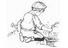 Dibujo para colorear ayudar en el jardín