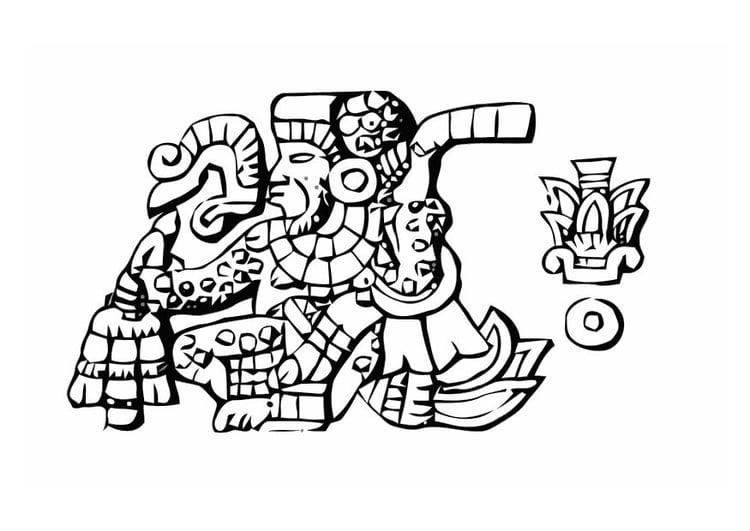 Dibujo para colorear aztecas - tumba - Img 11007