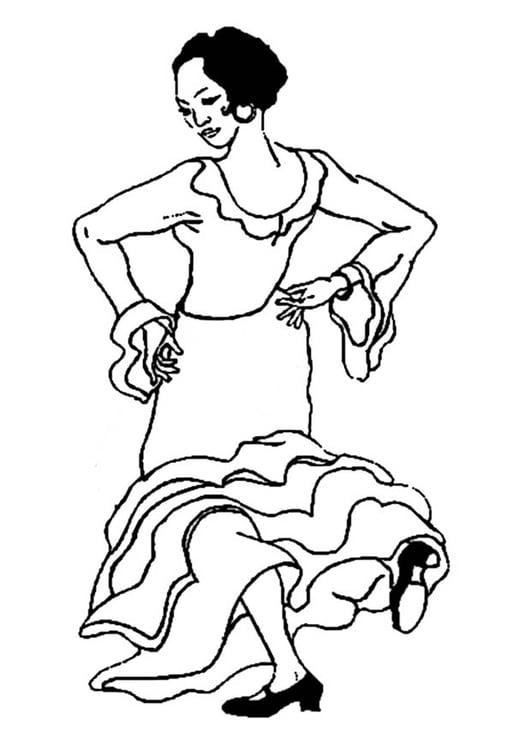 Dibujo para colorear Bailaora de flamenco - Img 9353