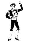 Dibujo para colorear Bailarín de bolero con castañuelas
