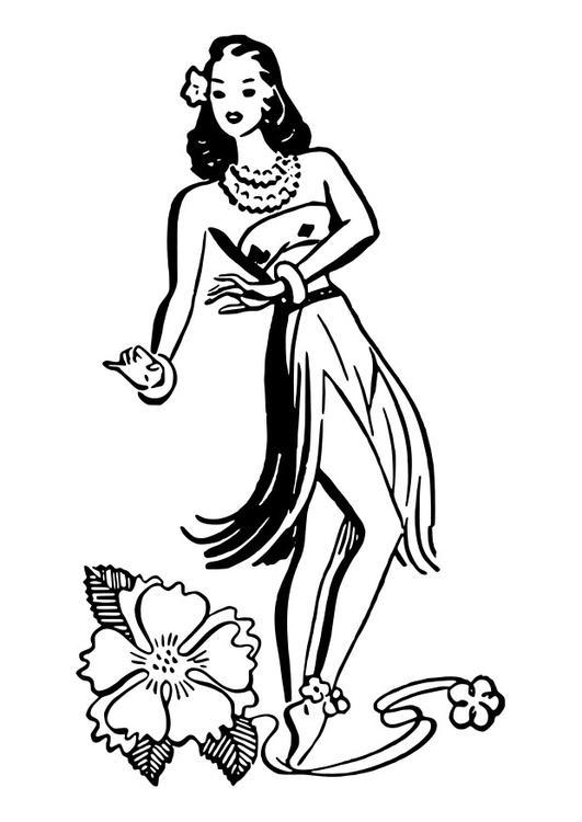 Dibujo para colorear bailarina de hula - Img 27872