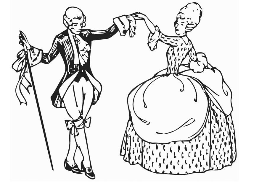 Dibujo para colorear Baile - Minué - Img 12958