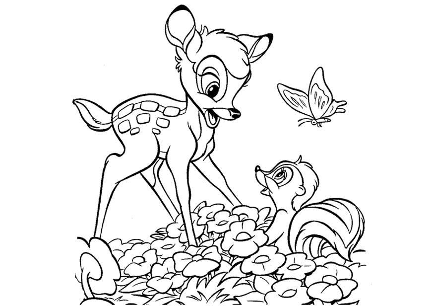 Único Colorear Bambi Bandera - Dibujos Para Colorear En Línea ...