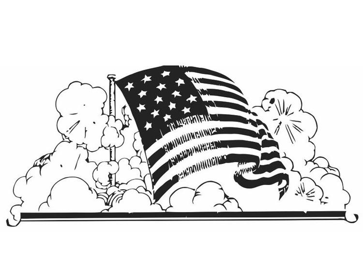 Dibujo para colorear bandera de Estados Unidos - Img 19848