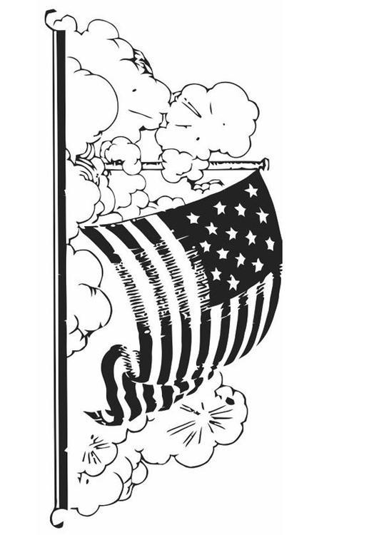 Dibujo para colorear bandera de Estados Unidos - Img 19846
