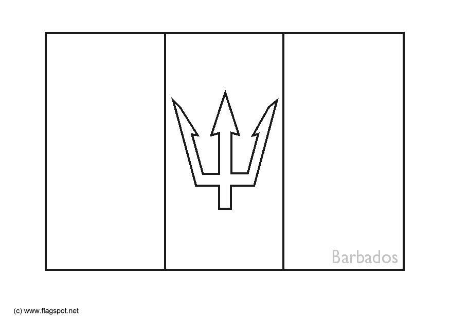 Barbados Flag Black And White