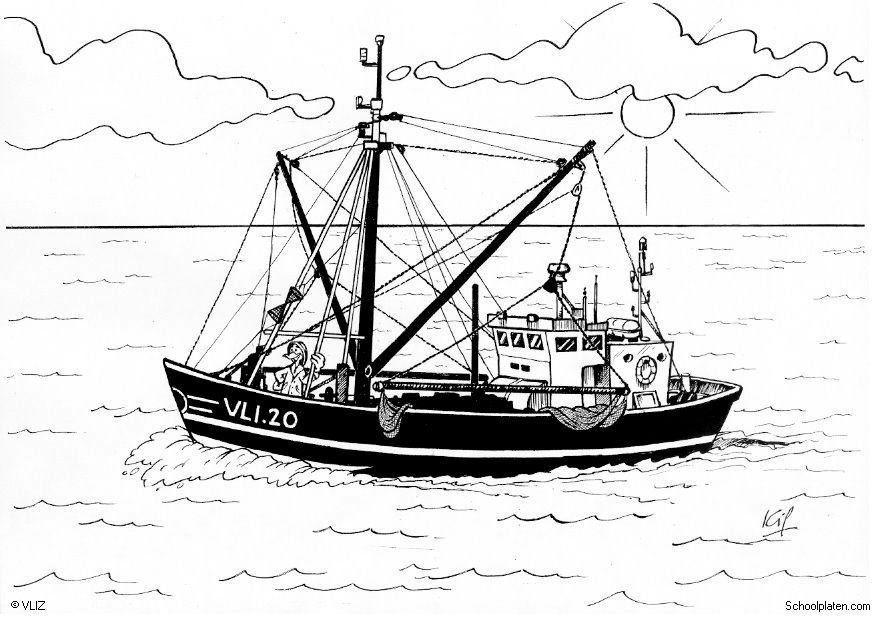Dibujos Para Colorear Un Pescador: Dibujo Para Colorear Barco De Pesca