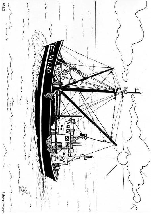 Dibujo para colorear Barco de pesca - Img 5495
