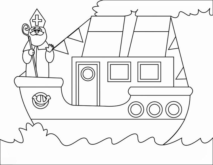 Kleurplaat Van Sinterklaas En Zwarte Piet En De Zak Printen Dibujo Para Colorear Barco De Vapor 2 Dibujos Para