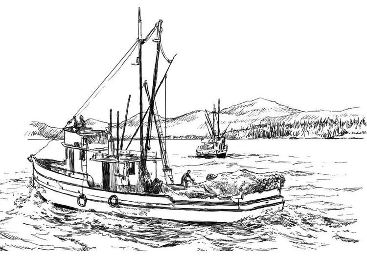 Dibujo Para Colorear Barco Pesquero - Red De Pesca Dibujo | www.lesh ...