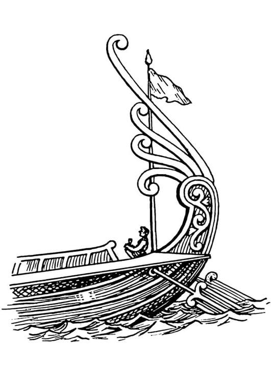 Dibujo Para Colorear Barco Popa Con Timón Img 18827