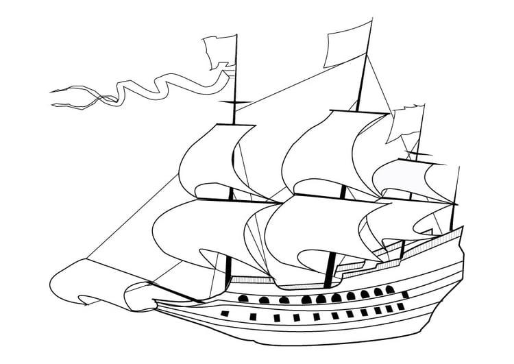 Dibujo Para Colorear Barco Velero Del Siglo 17 Img 9860