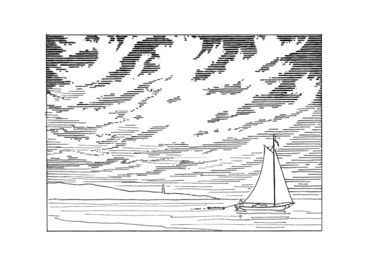 Dibujo Para Colorear Barco Velero Llegando A La Costa Img
