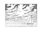 Dibujo para colorear barco velero llegando a la costa
