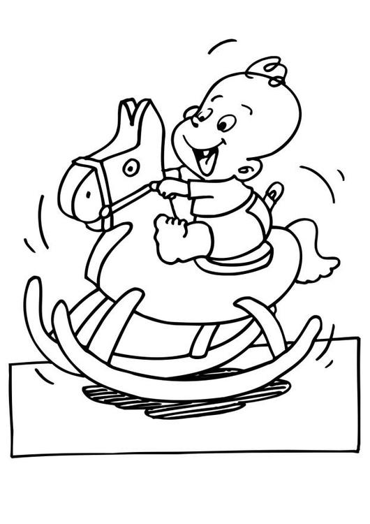 Dibujo para colorear Bebé en caballito - Img 6607
